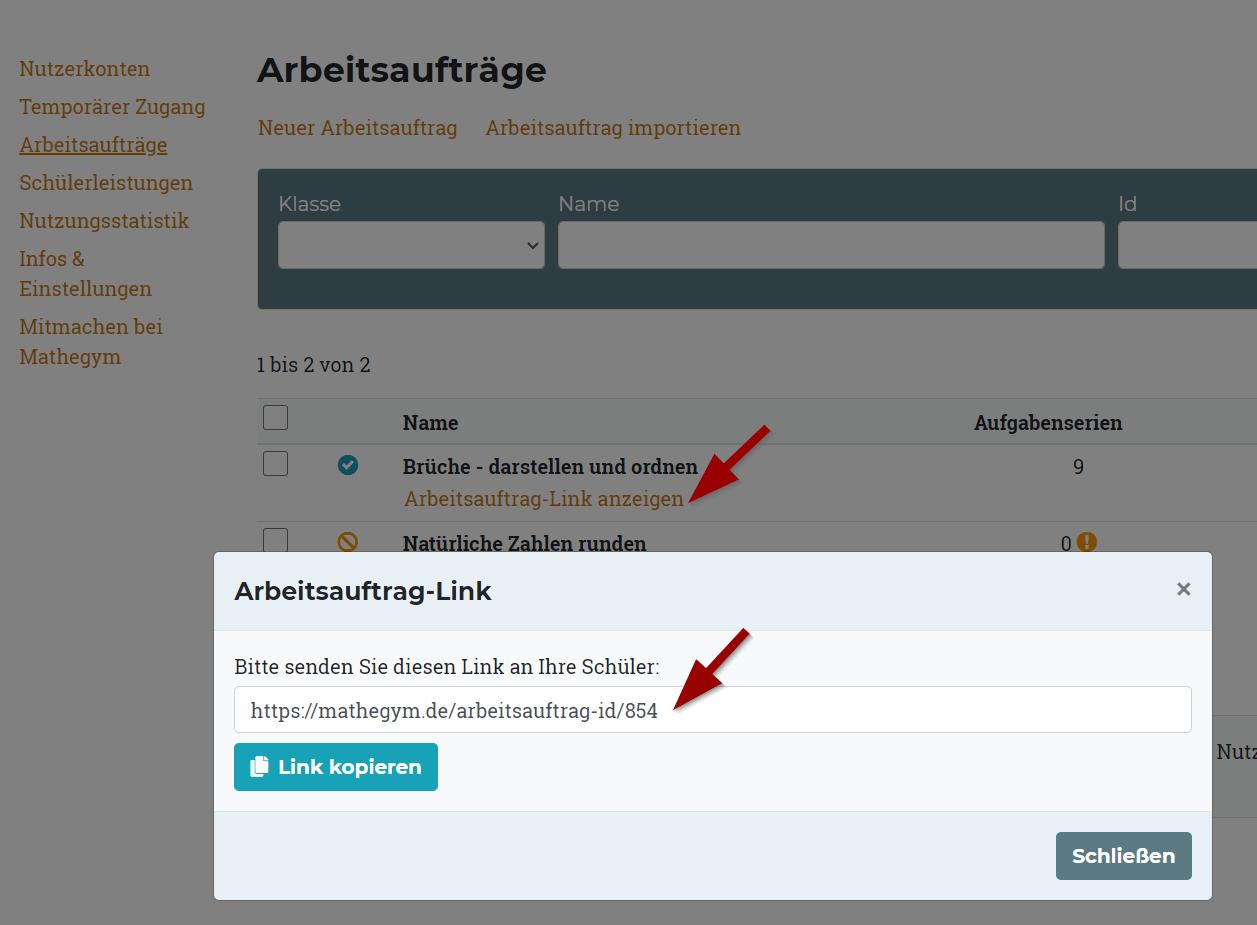 Bei Arbeitsaufträgen erhalten Sie die URL durch Klick auf den Button