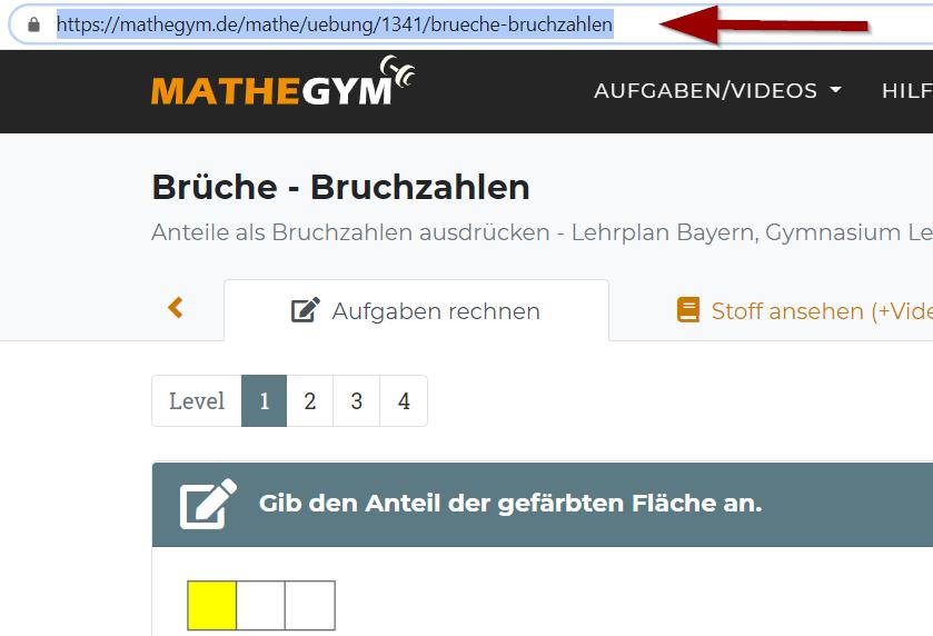 Sie können in Mebis Aufgaben und Arbeitsaufträge von Mathegym einbinden. Wenn Sie eine Aufgabe verwenden möchten, kopieren Sie die URL aus der Adresszeile des Browsers.