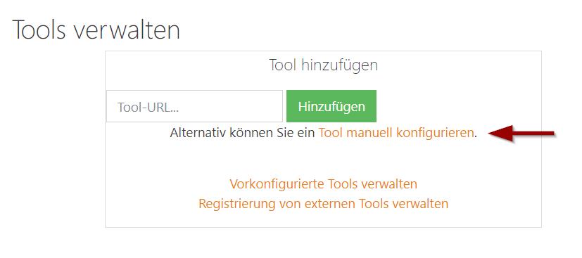 Screenshot Externes Tool in Moodle