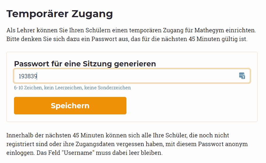 Screenshot: Temporärer Zugang